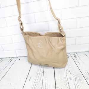 COLE HAAN Pebbled Tan Leather Medium Shoulder Bag
